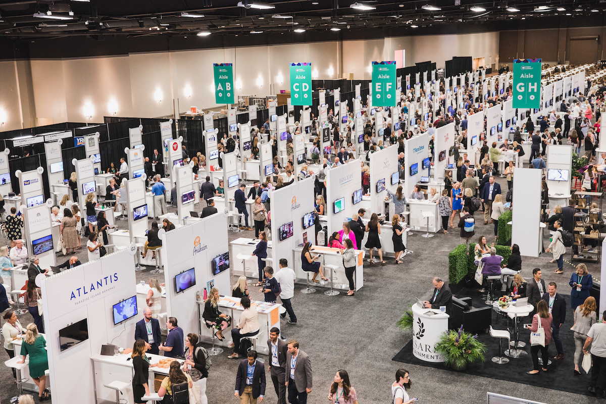 view of whole indoor tradeshow from high above